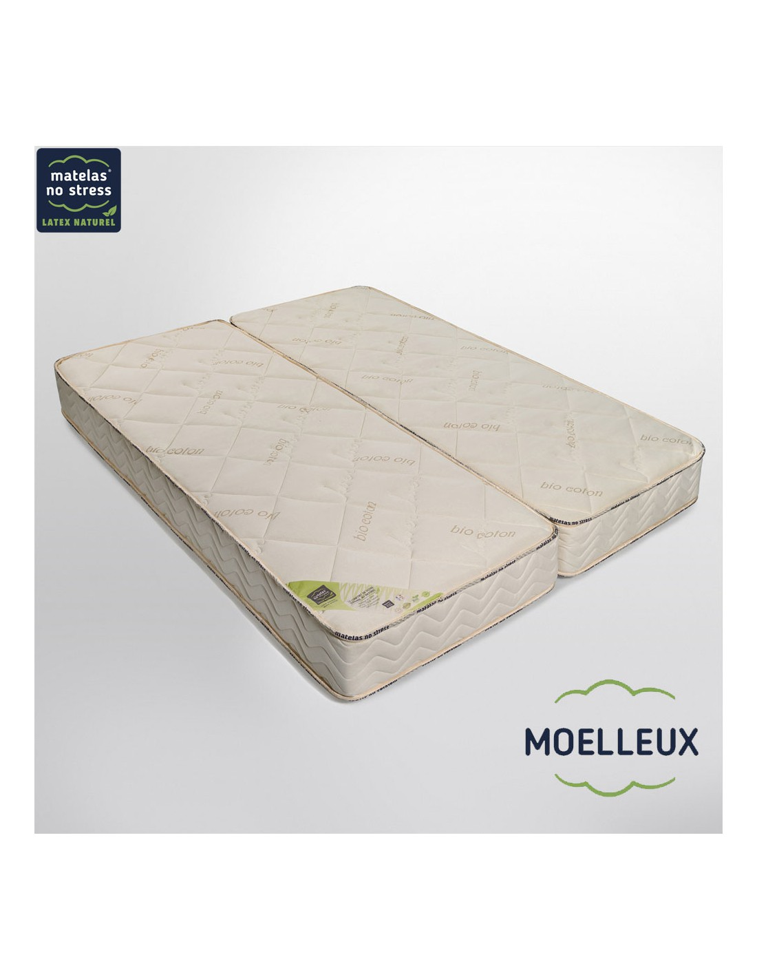 matelas latex naturel 2x80x190 reli s par un zip. Black Bedroom Furniture Sets. Home Design Ideas