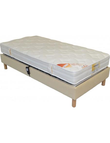 sommier lit electrique de relaxation habill tissu personnalisable dimension du sommier d co 70x190. Black Bedroom Furniture Sets. Home Design Ideas