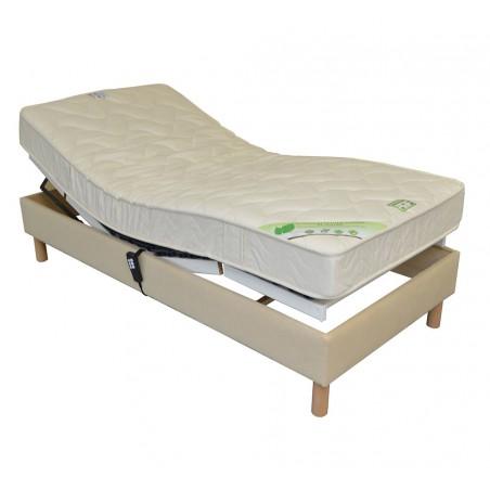Sommier lit electrique de relaxation habillé tissu personnalisable 70x190