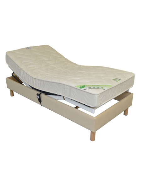 Sommier lit electrique de relaxation habillé tissu personnalisable 80x190
