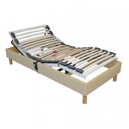 Sommier lit electrique de relaxation habillé tissu personnalisable 90x190