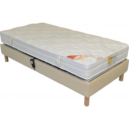 Sommier lit electrique de relaxation habillé tissu personnalisable 90x200