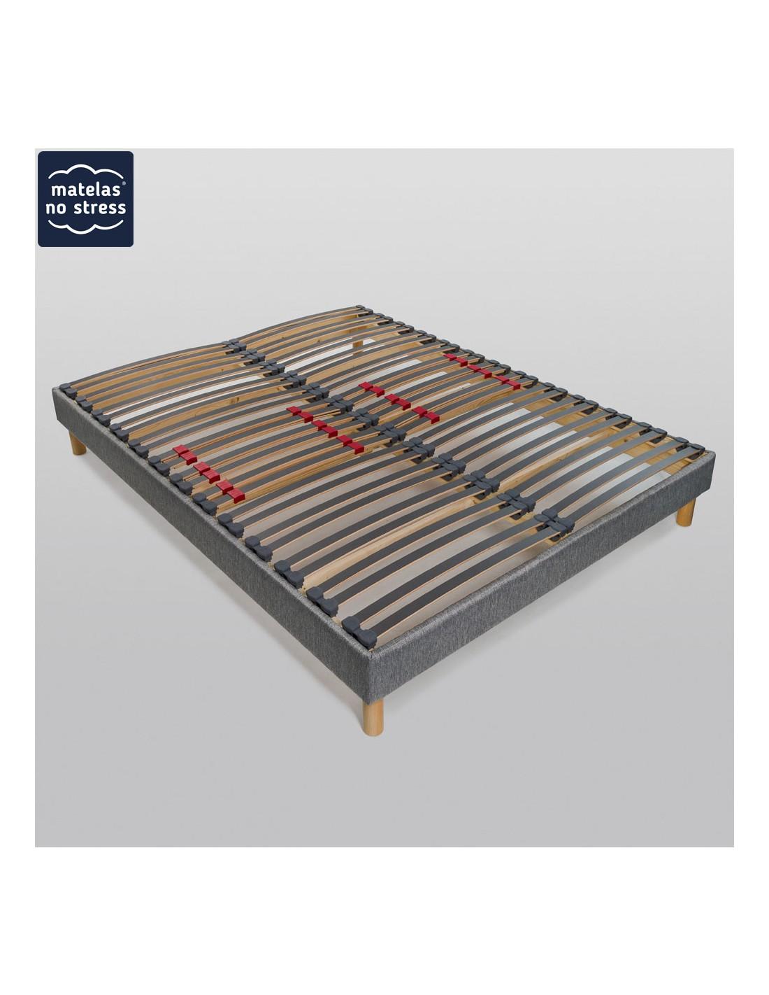 sommier tissu d co dimension du sommier d co 70x190 coloris tissu gris clair. Black Bedroom Furniture Sets. Home Design Ideas