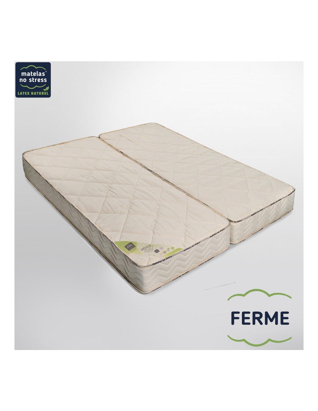 matelas duo 80 80x190 latex naturel haut de gamme ferme 21 cm. Black Bedroom Furniture Sets. Home Design Ideas
