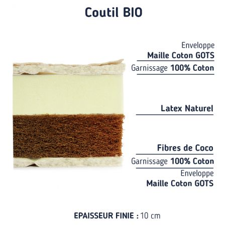 Matelas 70x140 coco latex bi - confort sa coupe