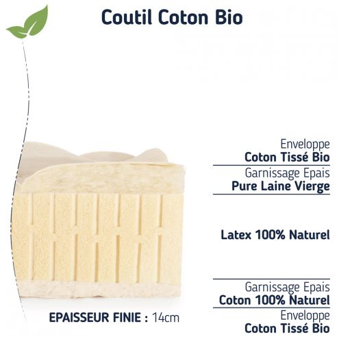 Le matelas 90x190 confort ferme 100 % naturel 14cm