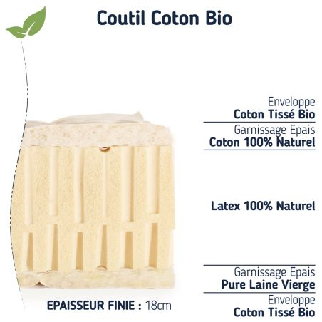Le matelas grand confort ferme 100 % naturel